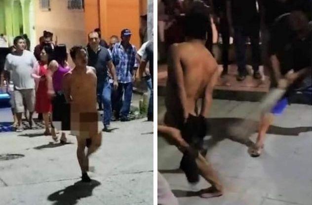 Golpean y exhiben desnudo a ladrón enTapilula